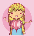 little girls with love vector image