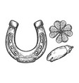luck talisman objects engraving vector image vector image