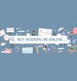 online shop pattern site flat banner vector image