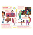 people reading books in library infographic vector image vector image