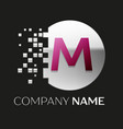 pink letter m logo symbol in silver pixel circle vector image