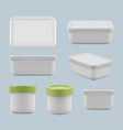 plastic boxes caring food in containers square vector image