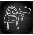Protesting Alien Drawing on Chalk Board vector image