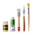 realistic oil paint tube brush for drawing vector image vector image
