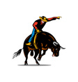 Rodeo Cowboy Bull Riding Retro vector image vector image