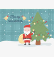 santa with gift bag celebration happy christmas vector image vector image