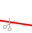 Scissors cut straight red ribbon on the left Flat vector image vector image