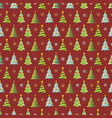 seamless christmas pattern with trees snowflakes vector image