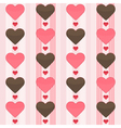 Seamless pattern with many brown and red hearts on vector image vector image