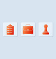 set briefcase clipboard with checklist and stamp vector image vector image