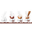 set coffee cappuccino and milk splash in cups vector image