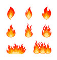 set of burning fire flame and hot blazing bonfire vector image vector image