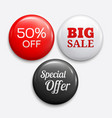set of glossy sale buttons or badges vector image vector image
