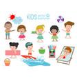 set of kids having fun on the beach children play vector image