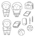 set of student and stationary vector image