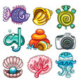 set summer icons vector image