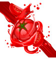 splash of tomatoes juice in motion vector image vector image
