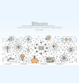 thin line art bitcoin poster banner vector image vector image