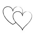 two hearts isolated sketch vector image vector image