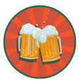 two mugs beer with foam vector image vector image