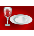 wine glass with plate vector image vector image