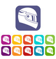 racing helmet icons set vector image