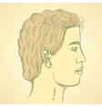 Sketch cute man in profile vector image
