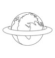 around the earth icon outline style vector image vector image