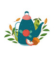 autumn teapot apple acorn leaves isolated design vector image vector image