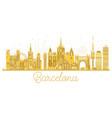 Barcelona spain city skyline golden silhouette