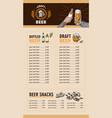 beer restaurant brochure vector image vector image