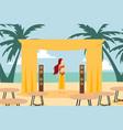 belly dancer woman cartoon character on beach vector image
