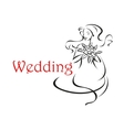 Bride with long curly hair wedding card vector image vector image