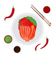 cartoon color korean traditional food kimchi and vector image vector image