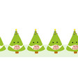 coronavirus christmas tree seamless border vector image