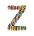 crowd of people in form of capital letter z flat vector image vector image