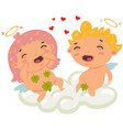 cute couple angels cupids or amur cartoon vector image vector image