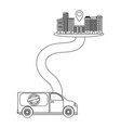 delivery van on a way to city vector image vector image