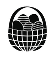 easter eggs in basket icon vector image vector image