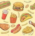 fast food hand drawn seamless pattern with burger vector image vector image
