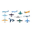 flat airplanes plane flight take off and landing vector image