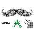 gentleman moustache mosaic of marijuana vector image