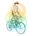 girl on the bicycle on the background vector image vector image