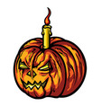halloween pumpkin with a candle vector image