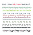 hand drawn set of colorful wreaths ribbons vector image