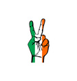 Hand making the V sign Ireland flag painted as vector image vector image