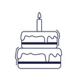 happy birthday sweet cake with candle celebration vector image