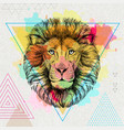 hipster animal lion on artistic polygon vector image