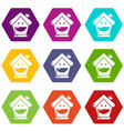 insurance house icons set 9 vector image vector image