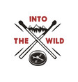 into the wild - outdoors adventure badge with vector image vector image
